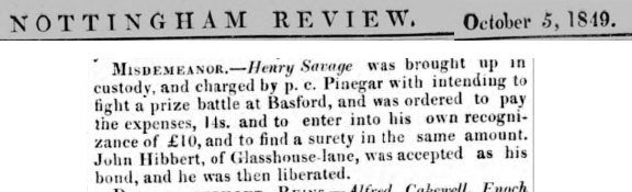 Henry Savage - Newspaper - Misdemeanor Prize Fight
