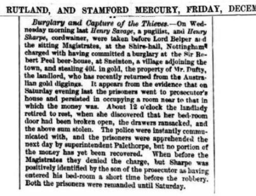 Henry Savage – 1858-12-17 – Burglary And Capture of the Thieves – Stamford Mercury
