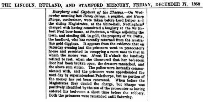 Henry Savage - Newspaper - Burglary And Capture of the Thieves