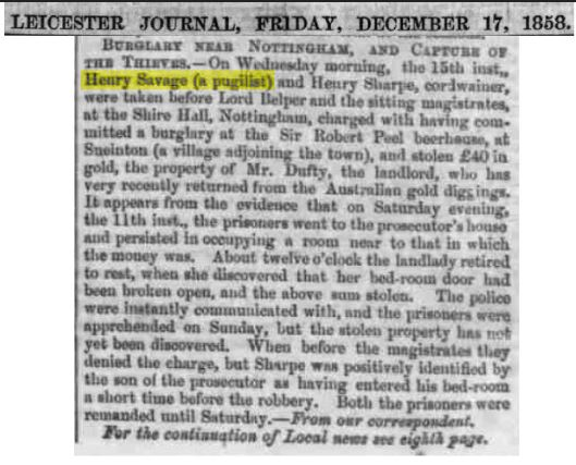 Henry Savage - Newspaper - Burglary Near Nottingham