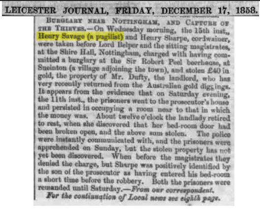 Henry Savage - Newspaper - Burglary Near Nottingham