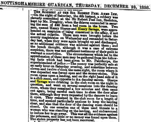 Henry Savage - Newspaper - Burglary Discharged Full Account