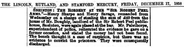 Henry Savage - Newspaper - Burglary Discharged