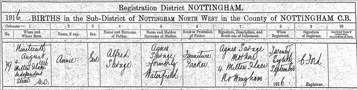 Annie Savage b. 1916 Birth Certificate