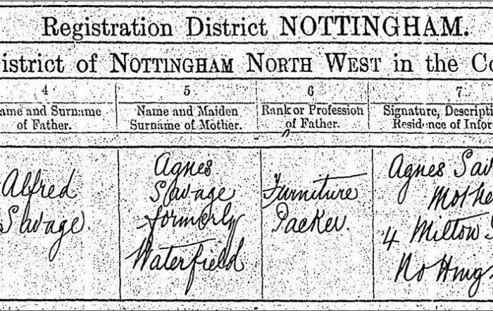 Annie Savage b. 1916 Birth Certificate