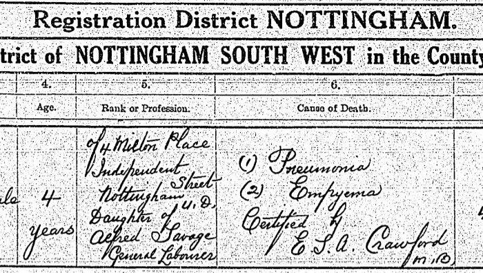Joan Savage Death Certificate 1927