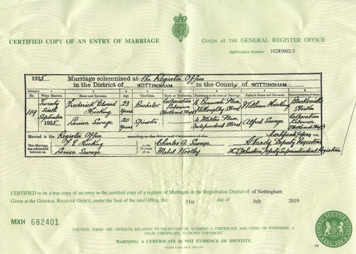 Louisa Savage Marriage Certificate