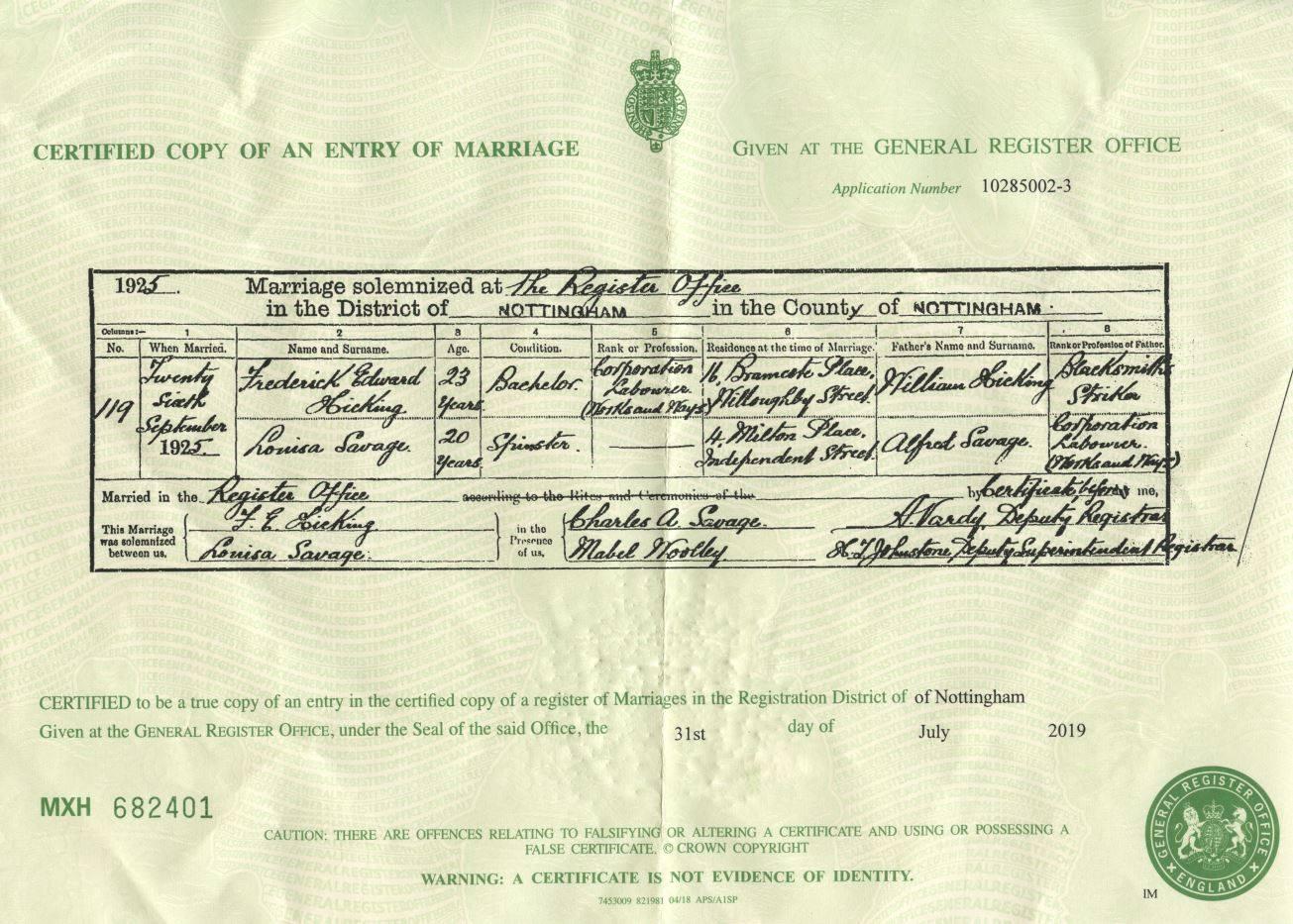 Louisa Savage Marriage Certificate